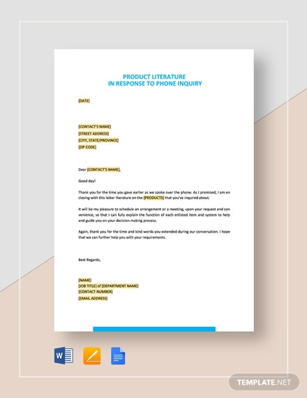 Product Literature in Response to Phone Inquiry Template