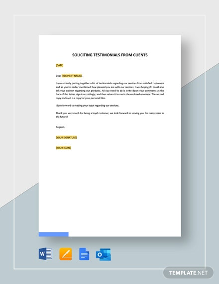 Soliciting Testimonials from Clients Template