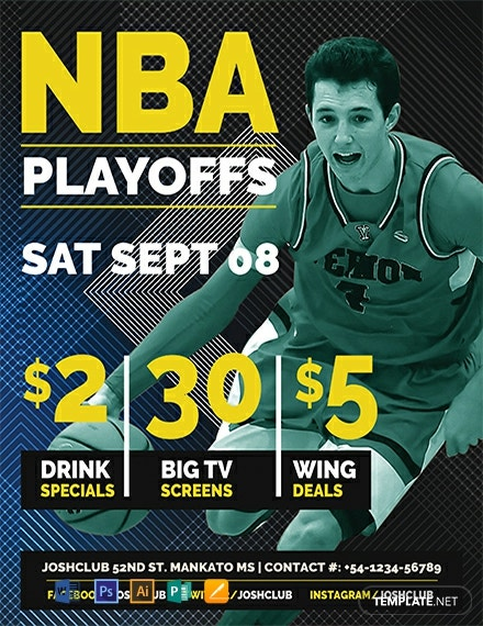 Free NBA Playoffs Flyer Template