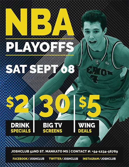 Free NBA Playoffs Flyer Template