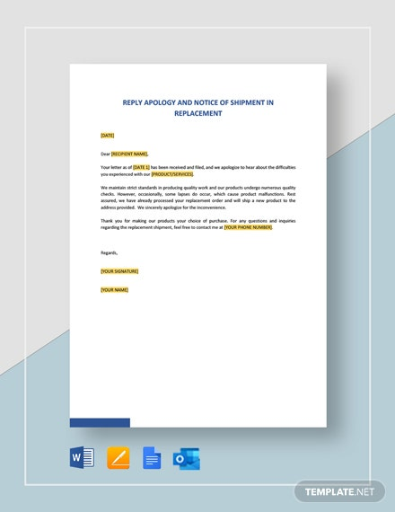 Reply Apology and Notice of Shipment in Replacement Template