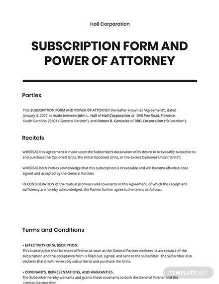 Subscription Form and Power of Attorney Template