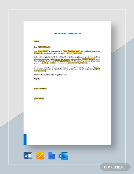 Advertising Sales Letter Template