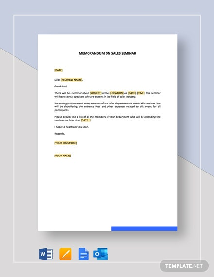 Memorandum on Sales Seminar Template