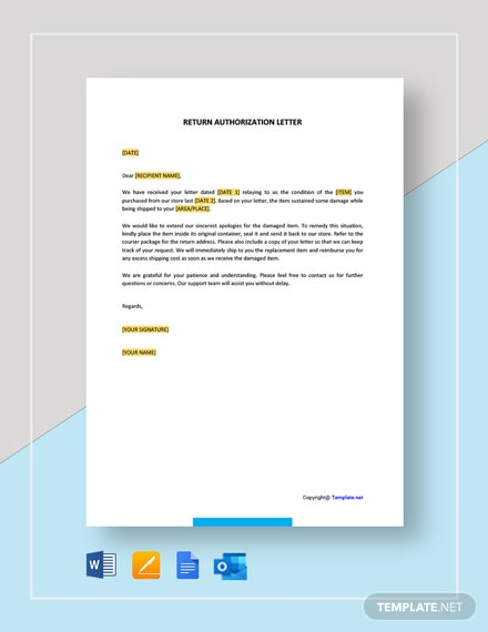 Return Authorization Letter Template