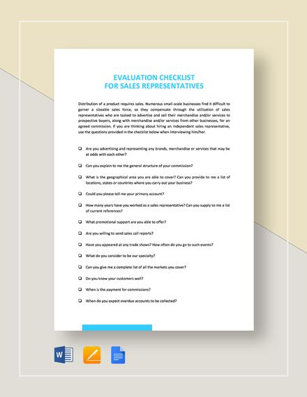 Checklist Sales Representative Evaluation Template