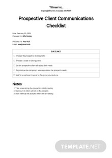 Checklist Communicating with Prospective Clients Template