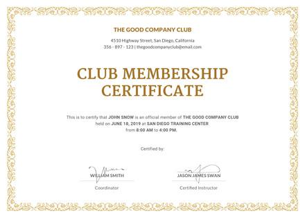 Free Club Membership Certificate Template: Download 200+ ...