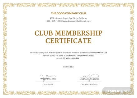 Free Club Membership Certificate Template in Adobe Photoshop ...