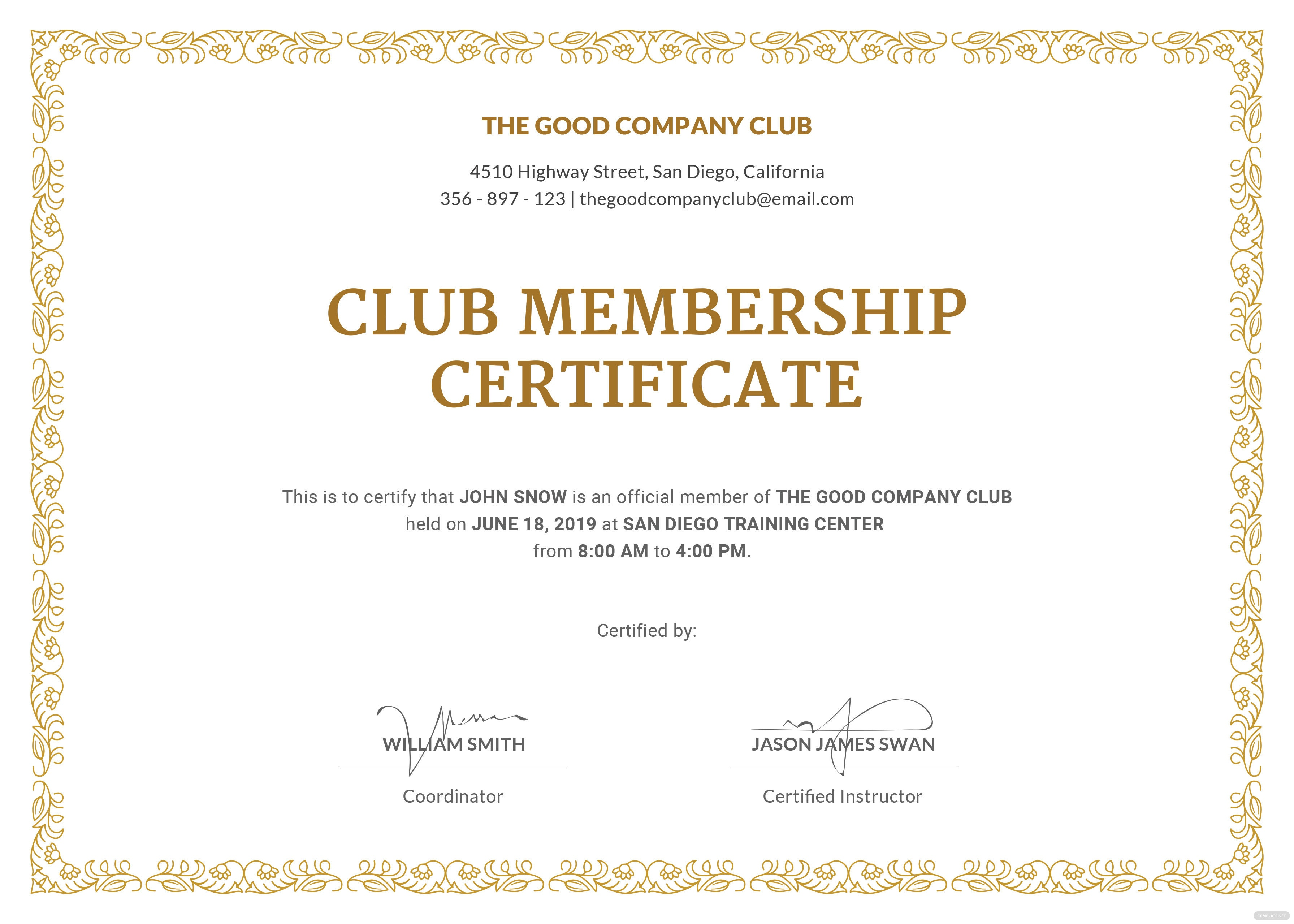 certificate of organization template - free club membership certificate template in adobe