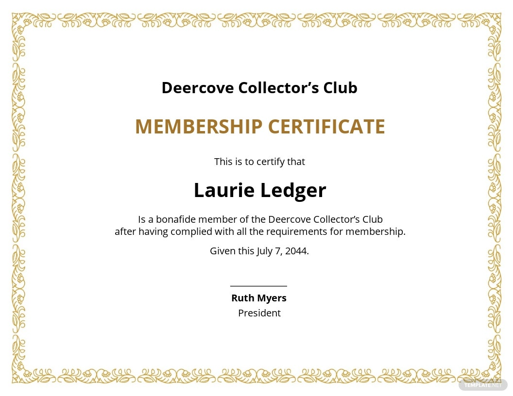 Free Club Membership Certificate Template