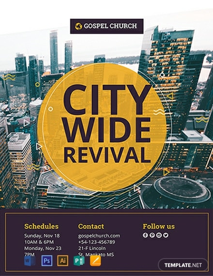 free revival in the city church flyer template 440x570 1