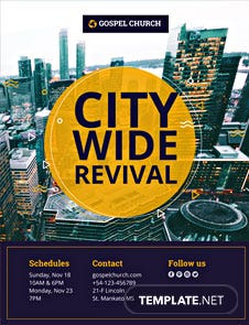 free revival in the city church flyer template