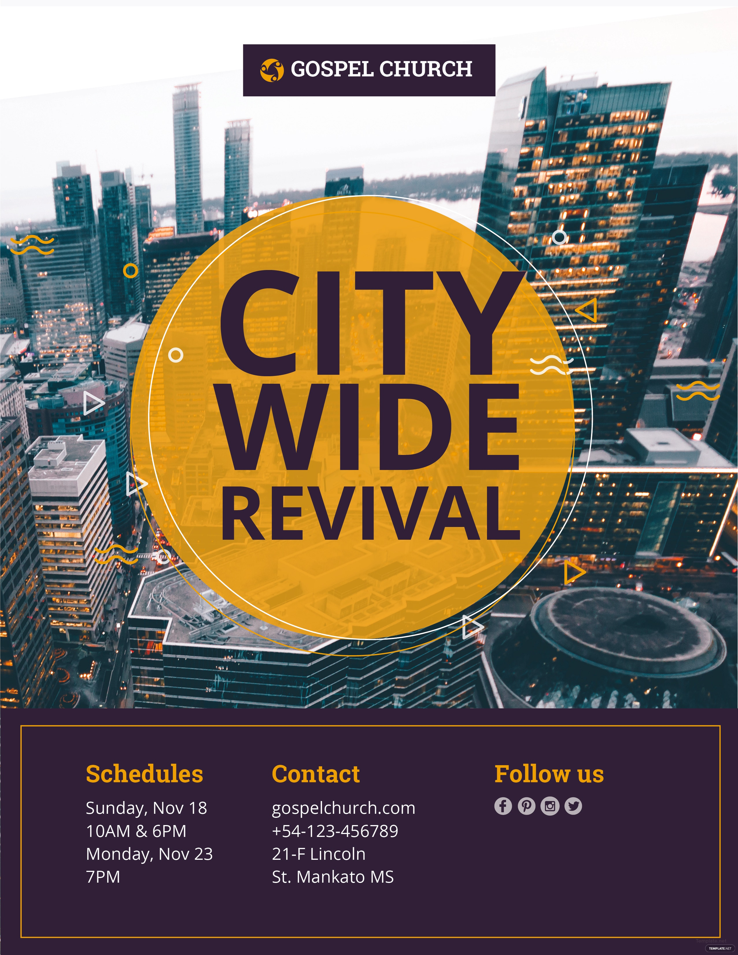 free revival in the city church flyer template in adobe. Black Bedroom Furniture Sets. Home Design Ideas