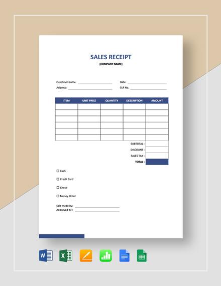 Blank Sales Receipt