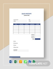 Blank Sales Receipt Template