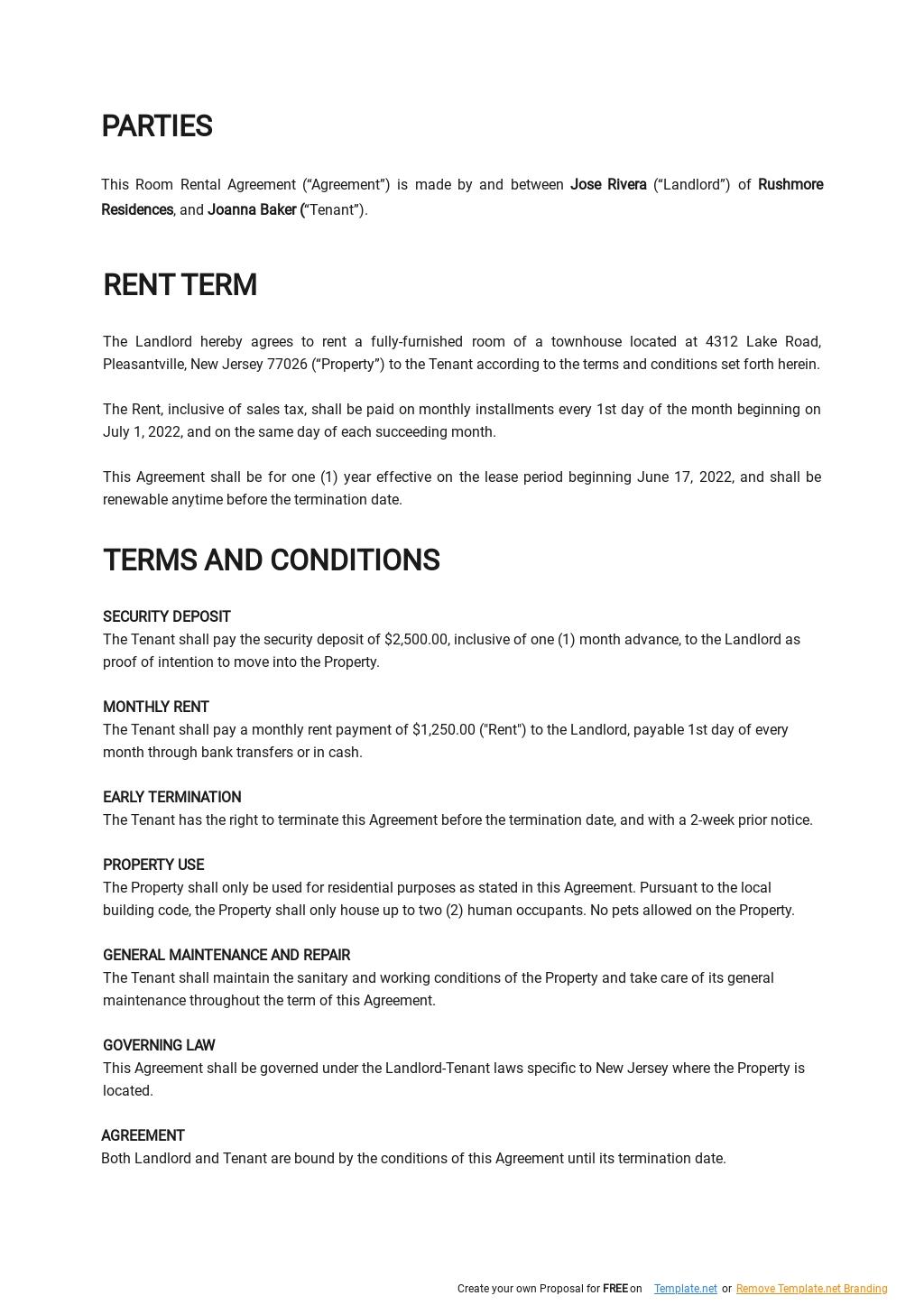 Sample Room Rental Agreement Template 1.jpe