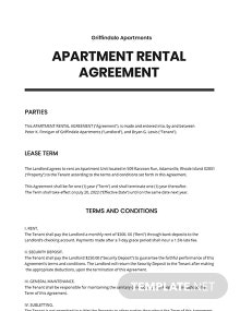 Sample Apartment Rental Agreement Template