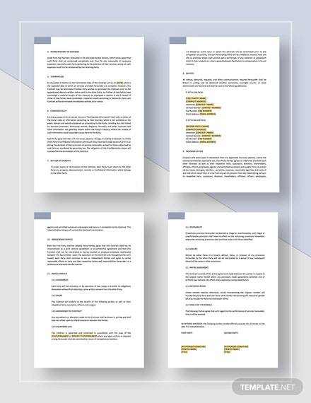 Printable Sample Business Contract Template