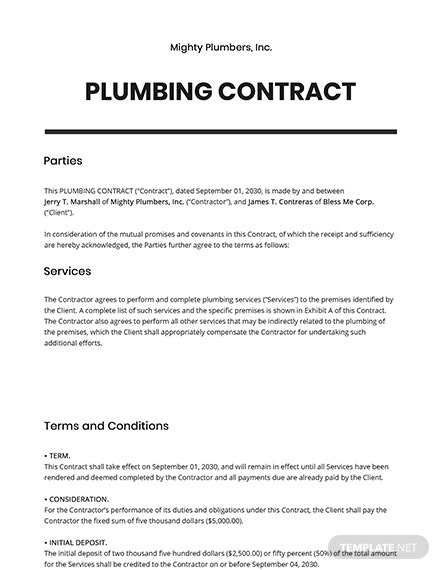 Plumbing Contract Template