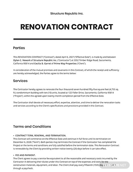 Renovation Contract Template