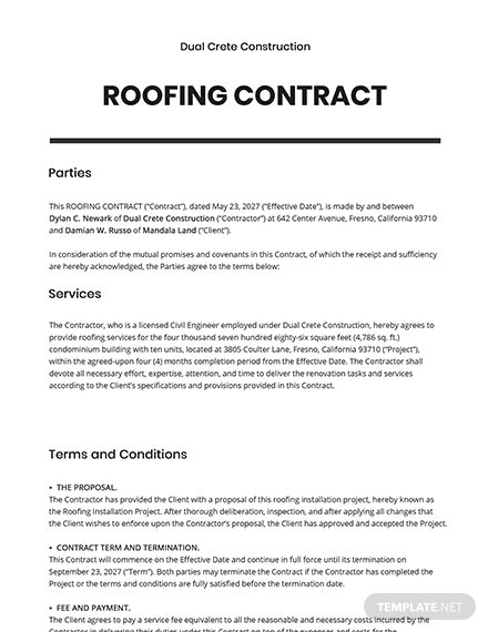 Roofing Contract Template