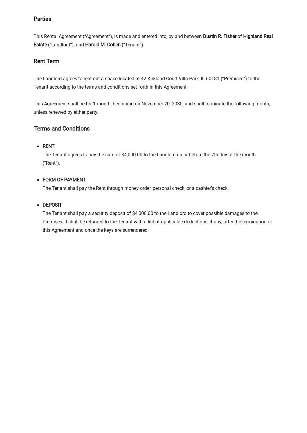 Rental Agreement Template [Free PDF] - Google Docs, Word, Apple Pages, PDF