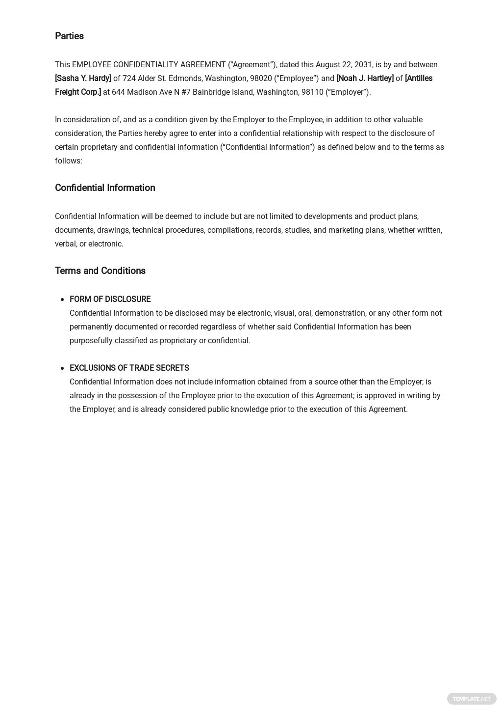 Sample Employee Confidentiality Agreement Template 1.jpe