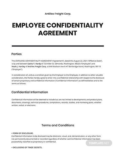 Sample Employee Confidentiality Agreement Template
