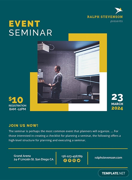 free seminar flyer template in adobe photoshop  microsoft