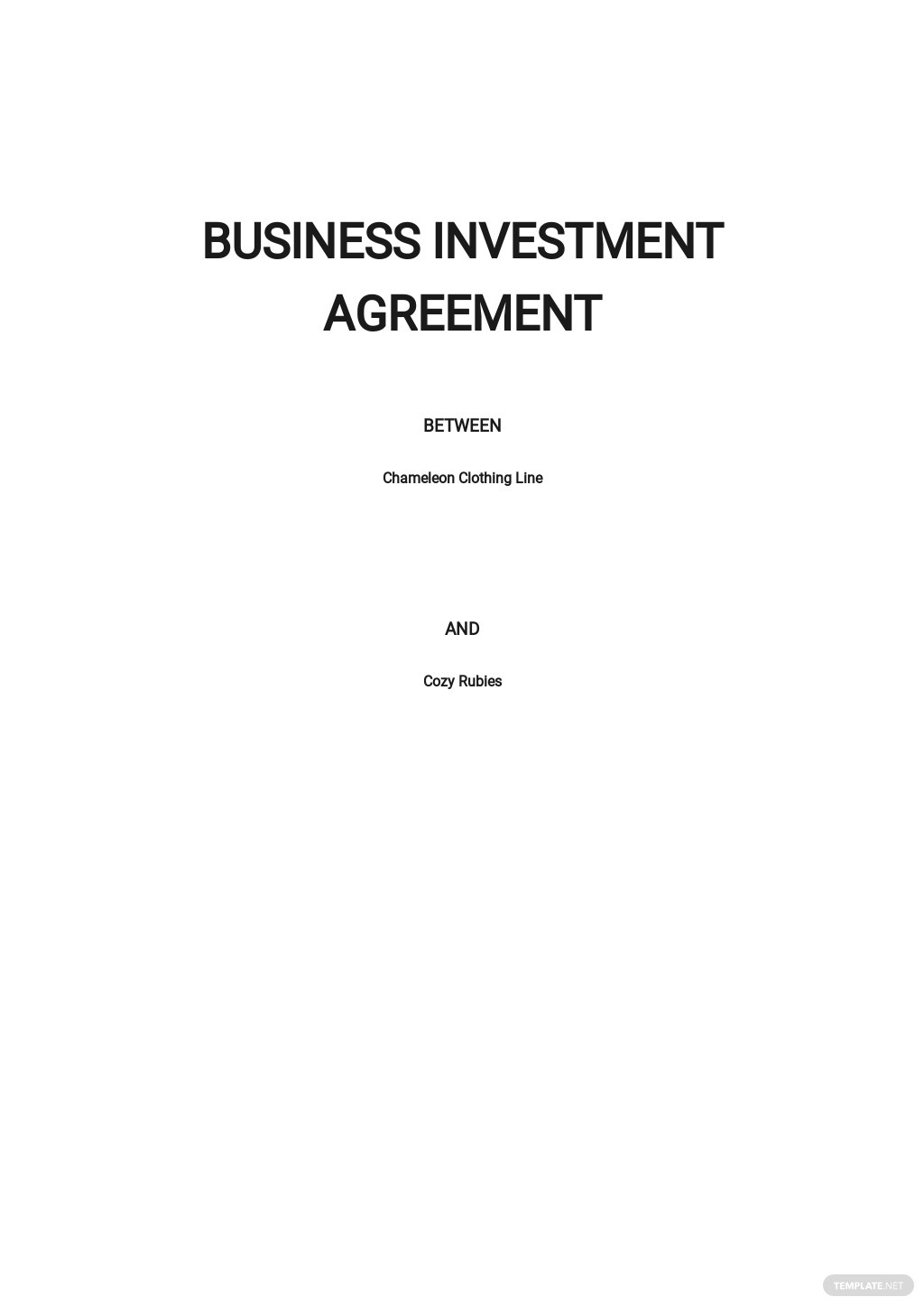 Business Investment Agreement Template