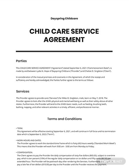 Child Care Service Agreement Template
