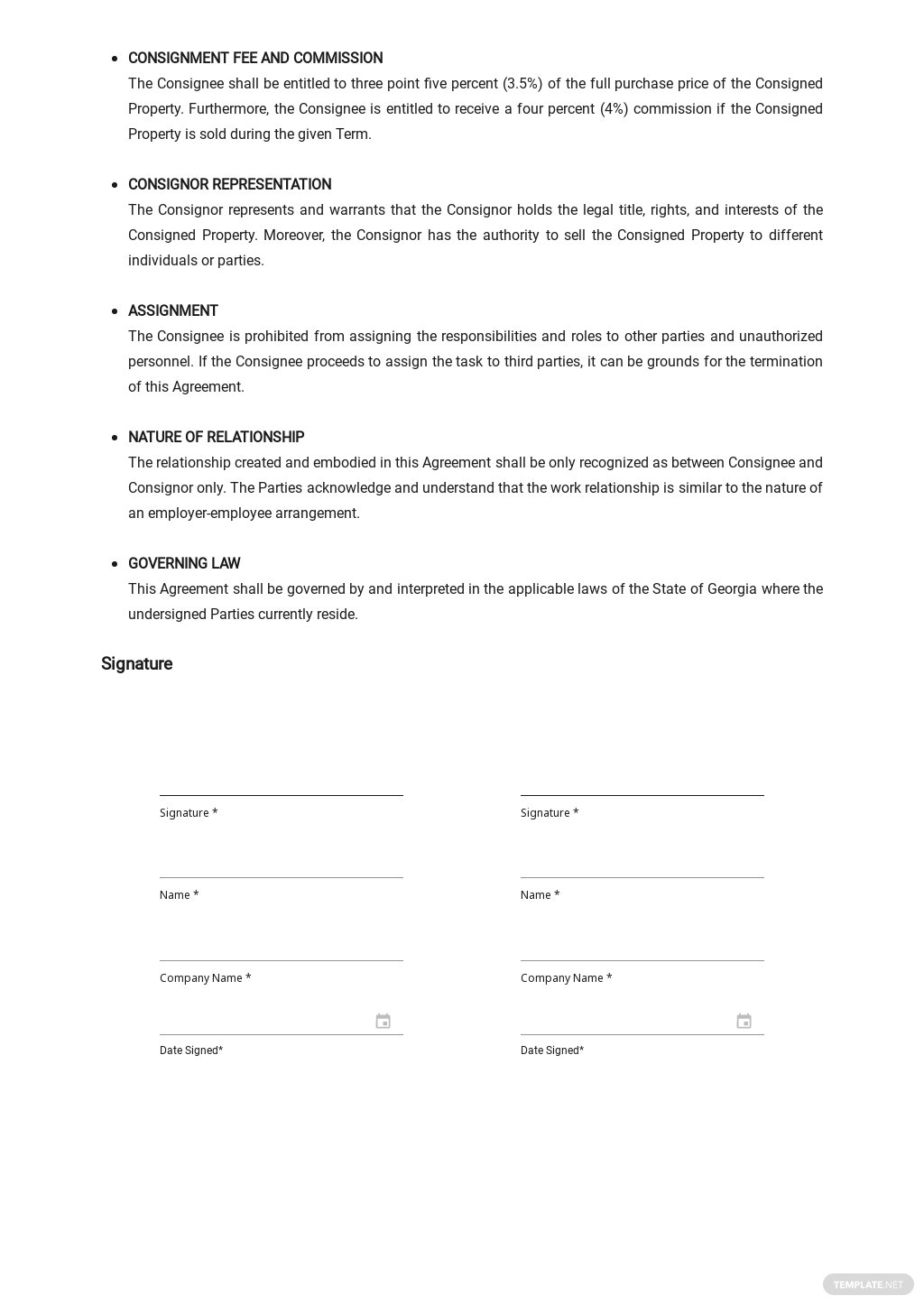Simple Consignment Agreement Template 2.jpe