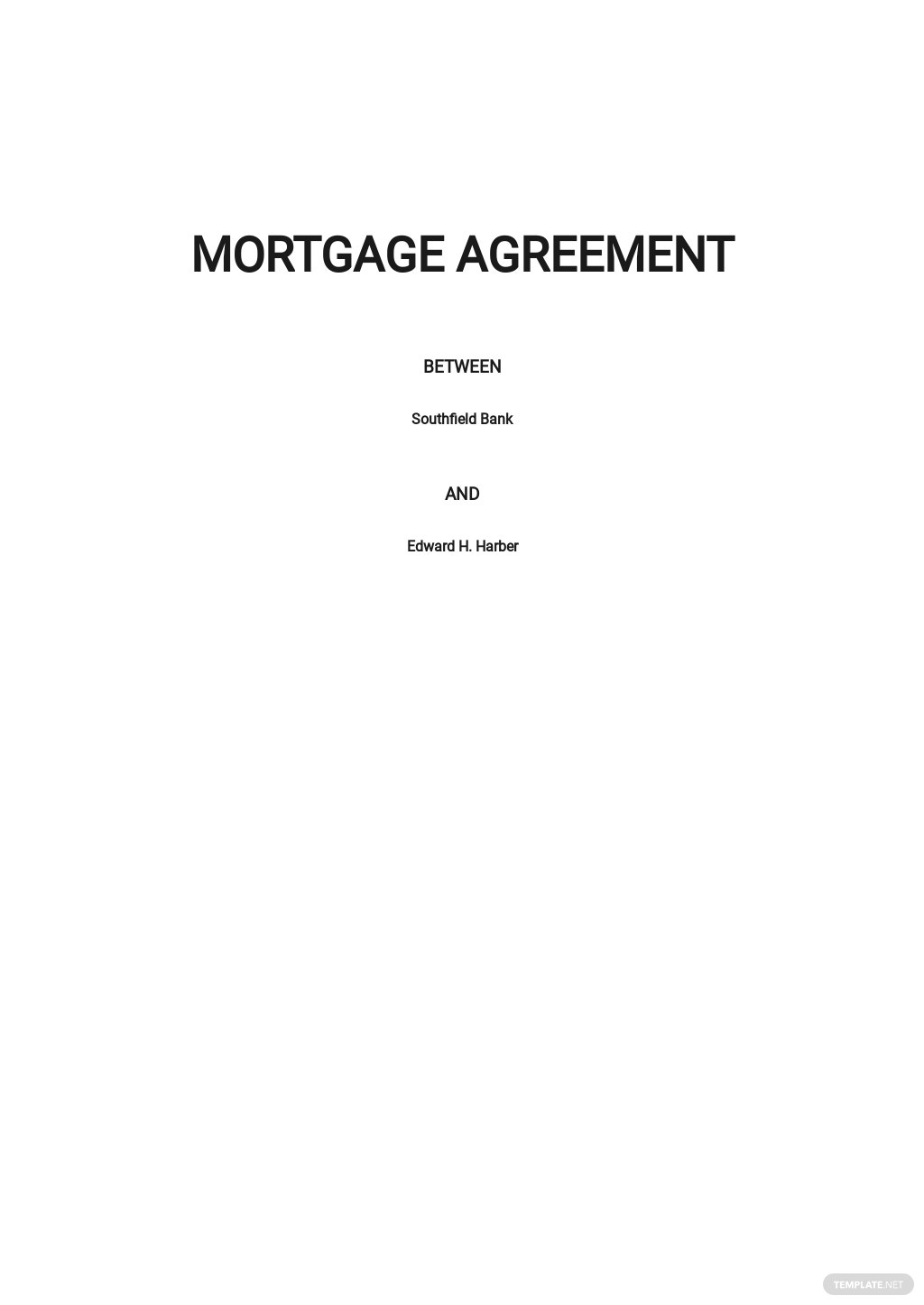 Mortgage Agreement Template
