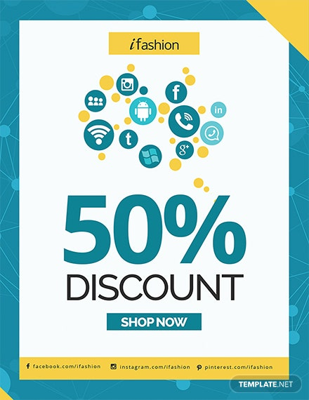 social media discount flyer template 1x 1