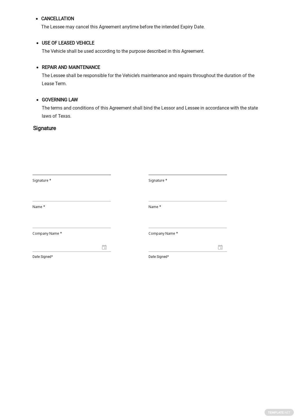 Simple Vehicle Lease Agreement Template 2.jpe