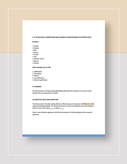 Sample Memorandum of Understanding Download