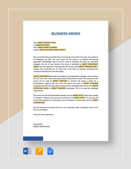 Sample Business Memo Template