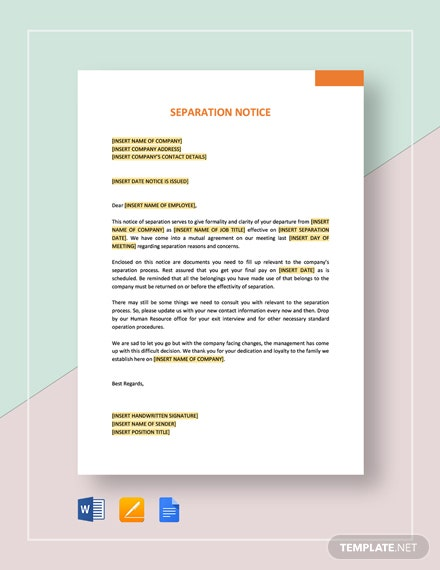Separation Notice Template