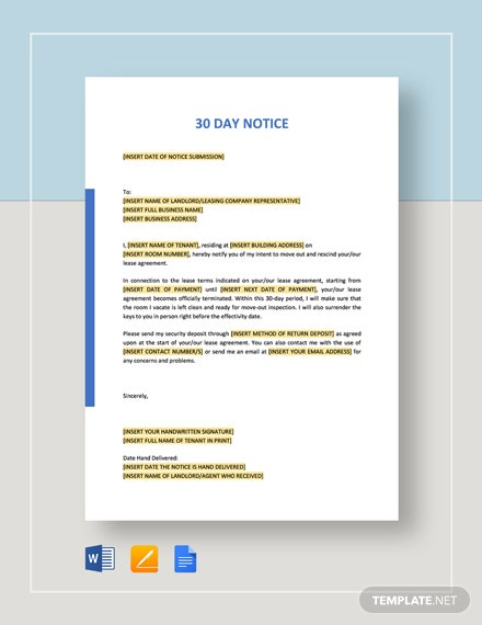 30 Day Notice Template