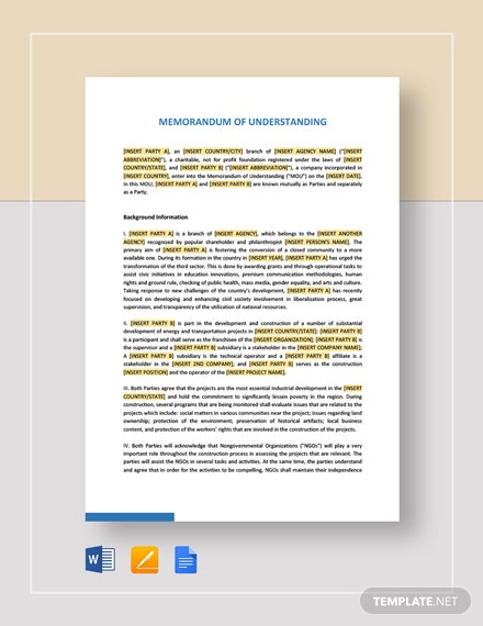 Memorandum of Understanding Between Two Individuals Party Template