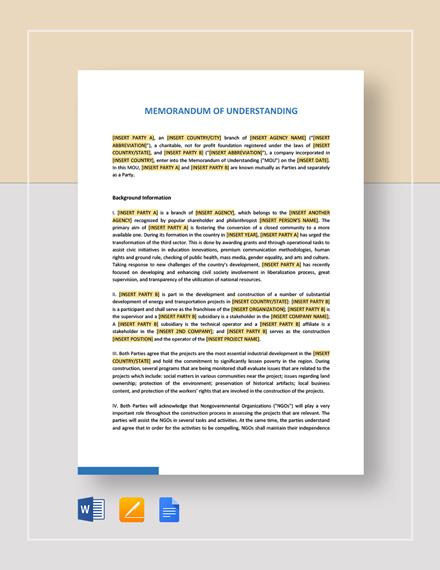 Memorandum of Understanding Between Two Individuals Party Template