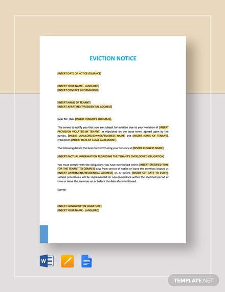 Sample Of Eviction Notice Letter from images.template.net