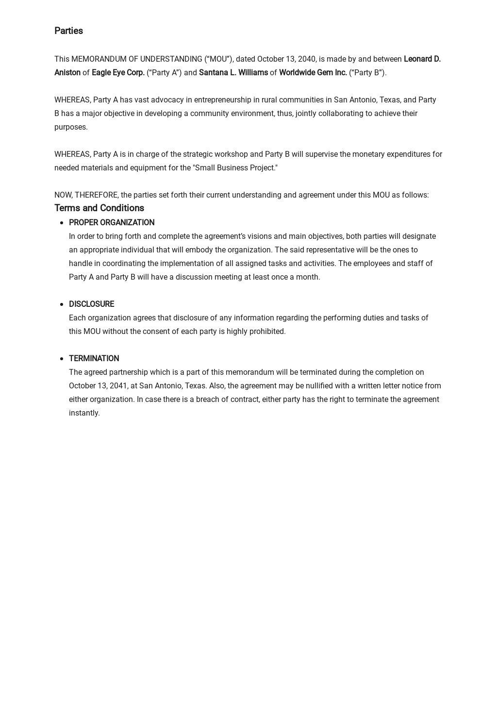 Memorandum of Understanding Between Two Parties for Business Template 1.jpe