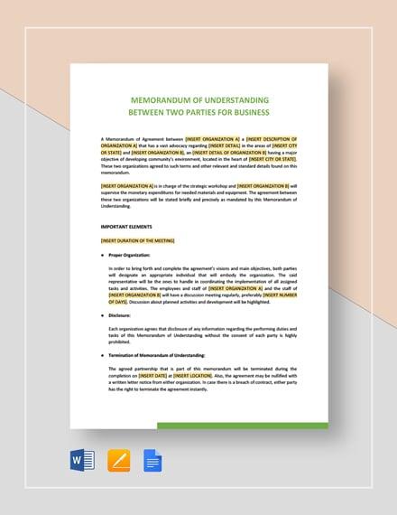 Memorandum of Understanding Between Two Parties for Business Template