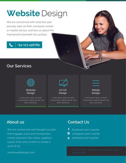 Free Website Design Flyer Template In Adobe Photoshop Microsoft - Web design flyer template