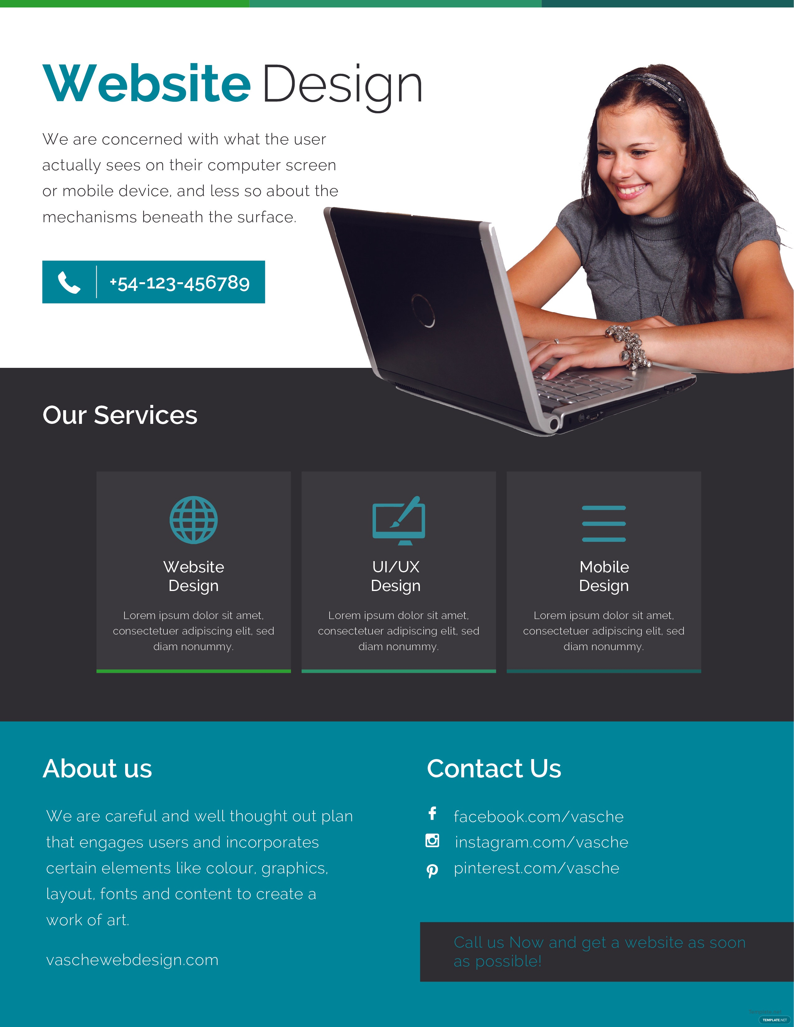 Free Website Design Flyer Template in Adobe Photoshop, Microsoft ...