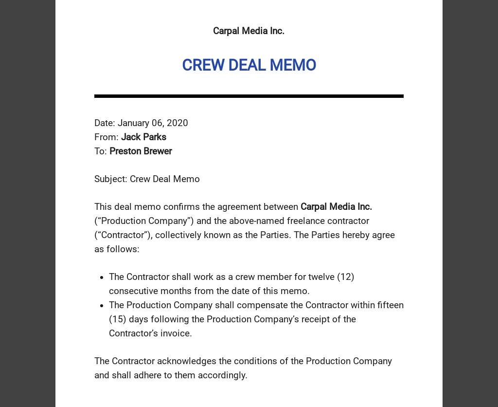 Sample Deal Memo Template