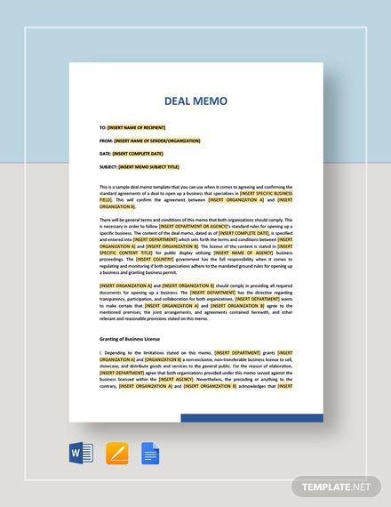 Sample Deal Memo Template