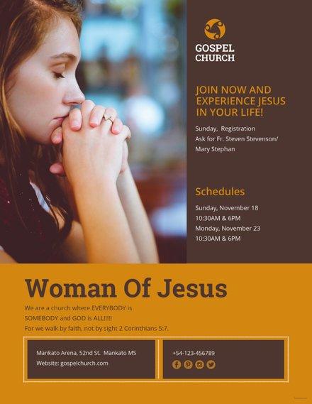 Free Woman of Jesus Flyer Template